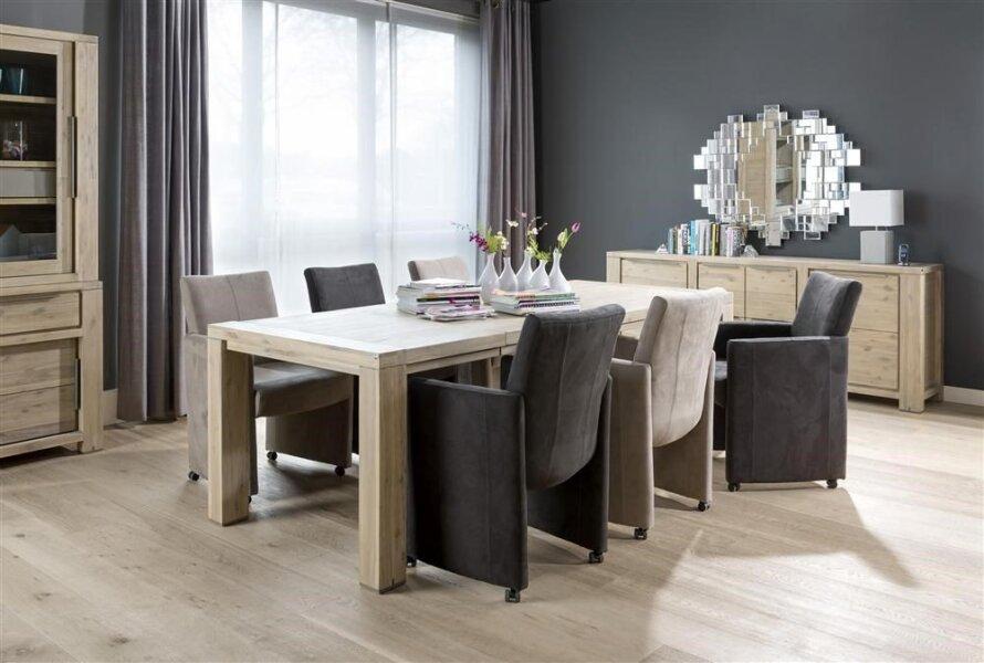 Nejlepší masivní jídelní stůl s rozkladem 160x100+60cm, lehce šedý odstín