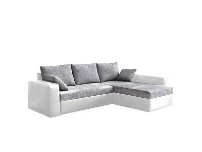 Rohová sedací souprava VIPER, ekokůže bílá / šenil šedá látka