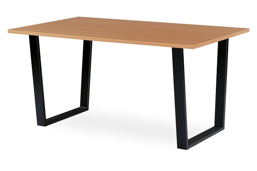 Jídelní stůl 150x90 cm, MDF + dýha tmavý buk, kovová podnož, černý matný lak