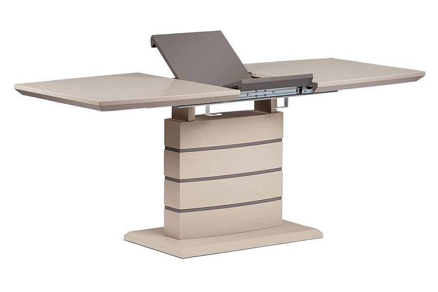 Jídelní stůl 140+40x80 cm, cappucino mat + šedohnědá