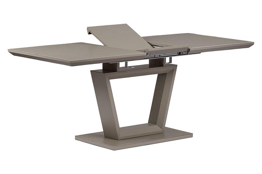 Rozkládací jídelní stůl 140+40x80x76 cm, MDF deska, barva matná lanýžová, lanýžové sklo satin
