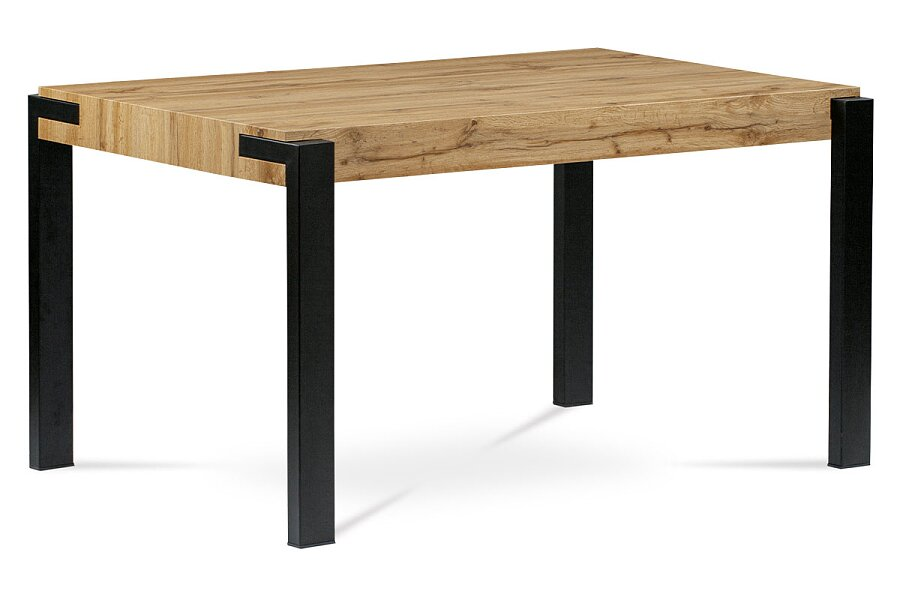 Jídelní stůl 140x88x76, deska MDF dekor divoký dub tloušťka 100mm, kov černý mat