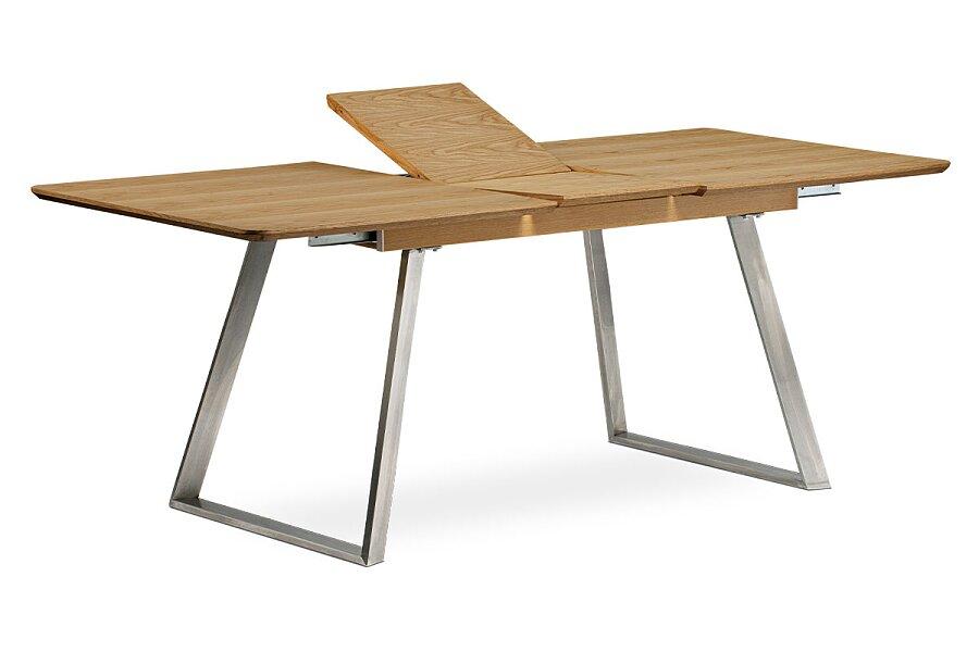 Jídelní stůl rozkládací - 160+40x90 cm, MDF + dýha dub, kovová podnož, broušený nerez