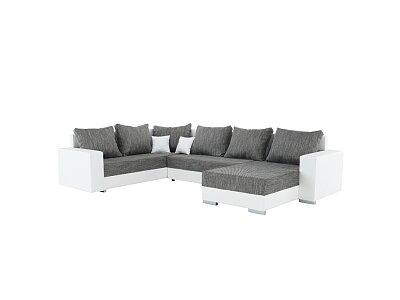 Rohová sedací souprava STILO, eko bílá/šenil šedá