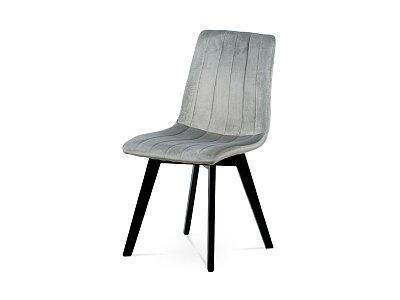 Jídelní židle, stříbrná sametová látka