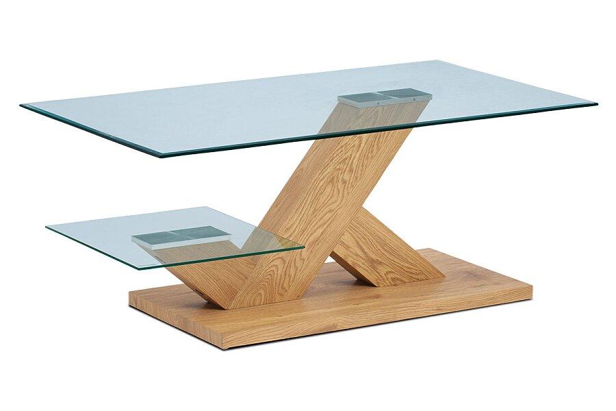 Konferenční stolek 110x60x46, čiré tvrzené sklo, MDF + dekor divoký dub
