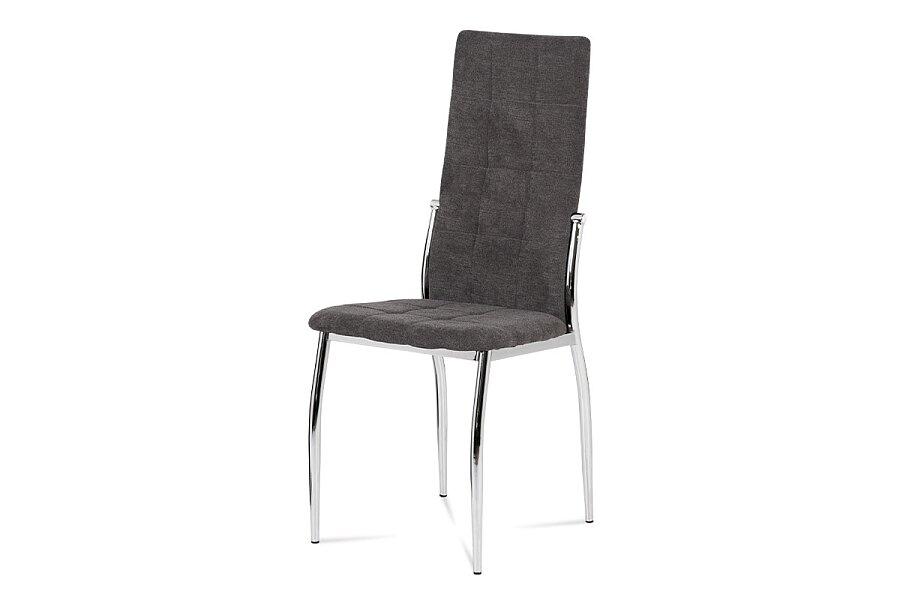 Jídelní židle, šedá látka, kov chrom