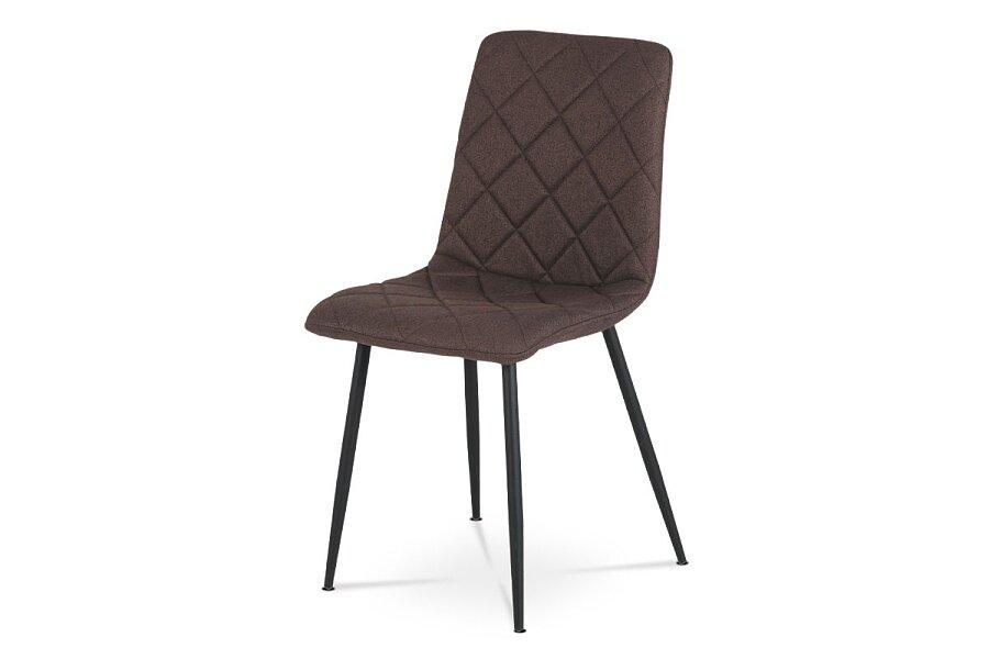 Jídelní židle, potah hnědá látka, kovové nohy - černý lak