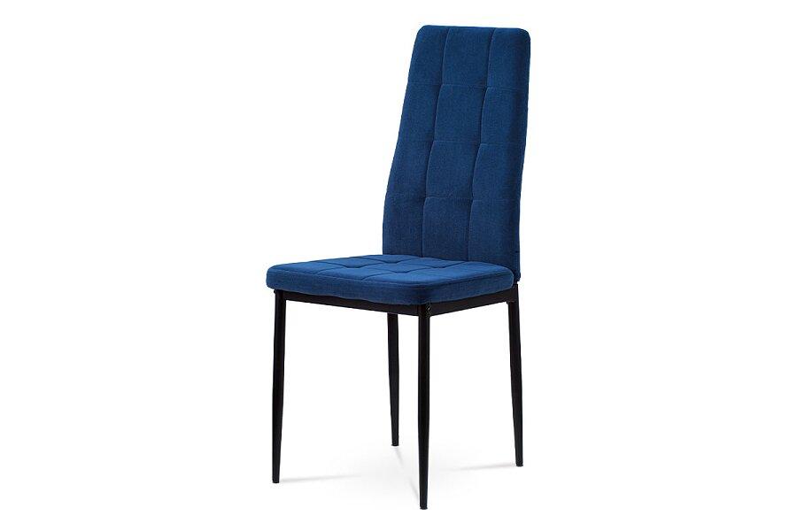 Jídelní židle, modrá sametová látka, kovová čtyřnohá podnož, černý matný lak