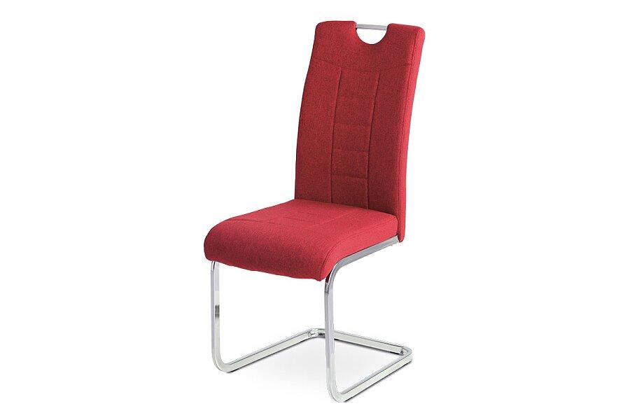 Jídelní židle, červená látka, kovová pohupová chromovaná podnož