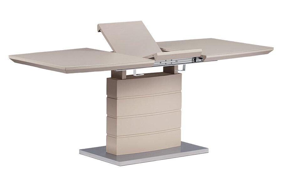 Rozkládací jídelní stůl 140+40x80x76 cm, barva cappucino, vysoký lesk, bílé sklo / broušený nerez