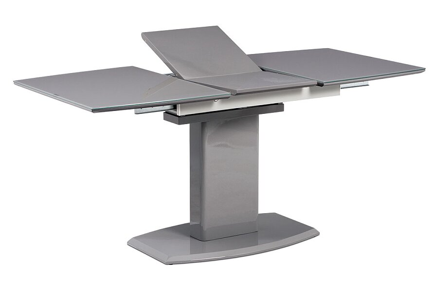 Jídelní stůl 120+40x80 cm, šedé sklo + šedá MDF