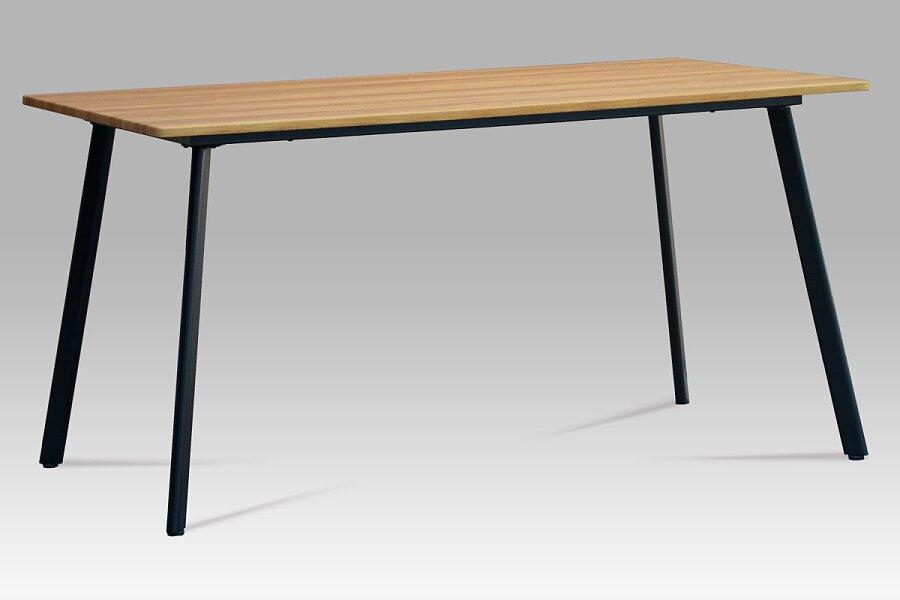Jídelní stůl 150x80x76, MDF divoký dub, kov matná černá