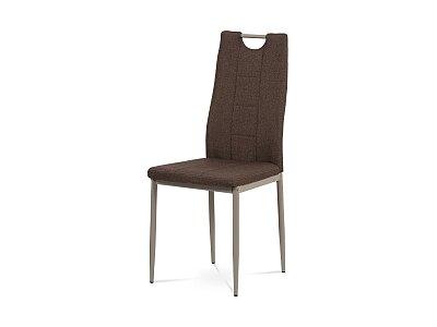 Jídelní židle - hnědá látka, kov, lesk