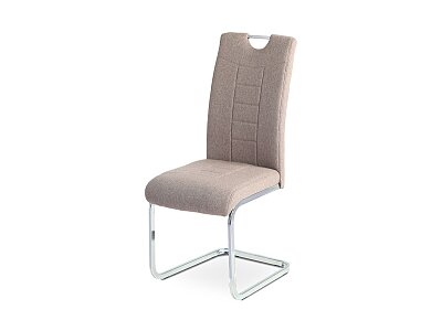 Jídelní židle - coffee látka, kov/chrom podnož
