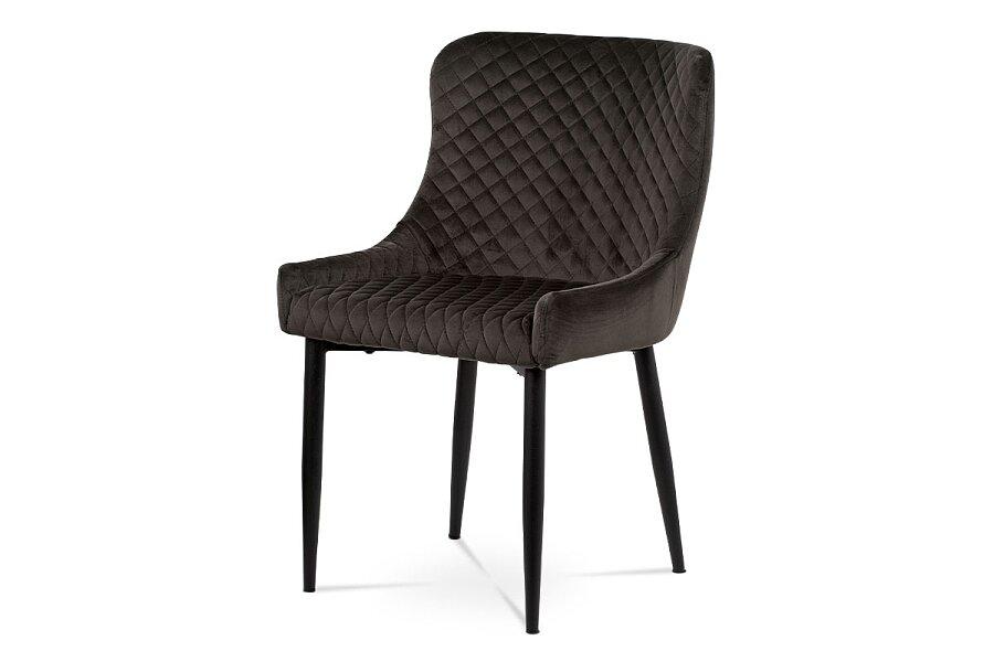 Jídelní židle, šedá sametová látka, kovová podnož, černý matný lak