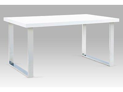 Jídelní stůl 150x90 cm, chrom / bílý lesk