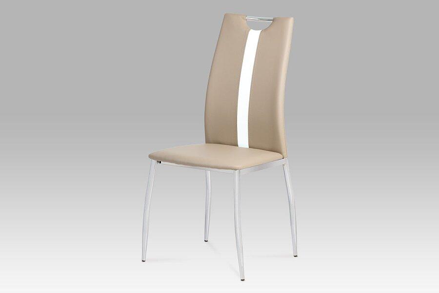 Jídelní židle koženka cappuccino / chrom