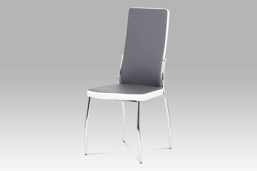 Jídelní židle koženka šedá + bílá