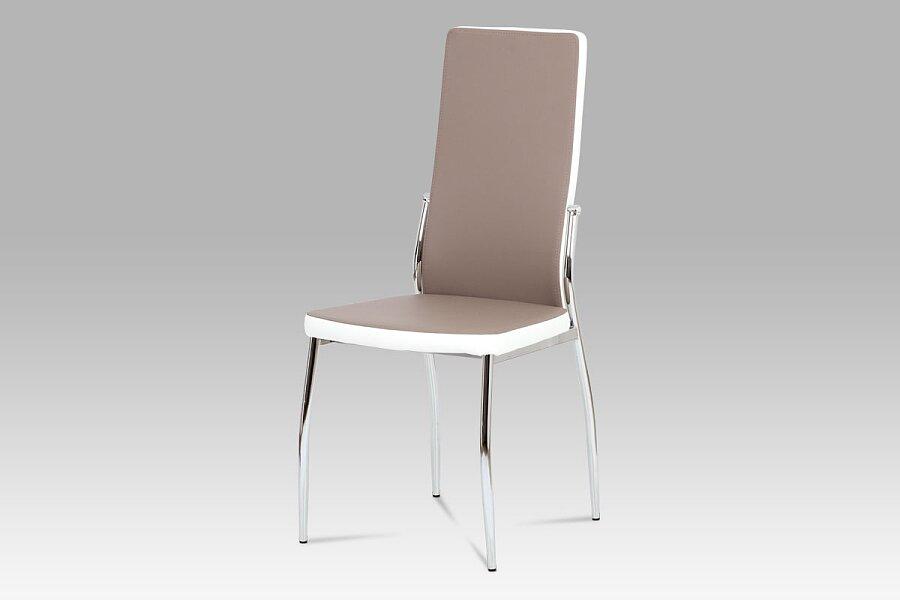 Jídelní židle koženka lanýž + bílá