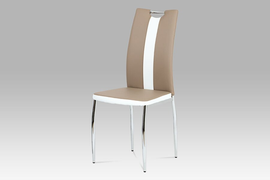 Jídelní židle koženka cappuccino + bílá / chrom