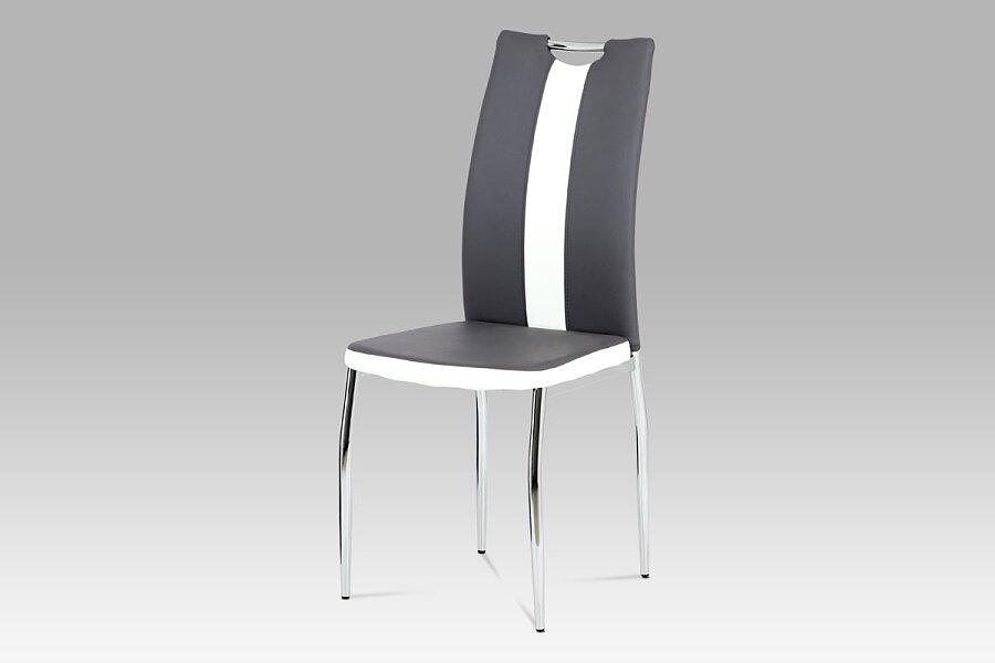 Jídelní židle koženka šedá + bílá / chrom