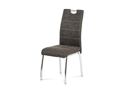 Jídelní židle - látka šedá, bílé prošití / chrom