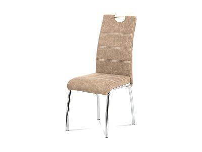 jídelní židle - látka krémová COWBOY / chrom