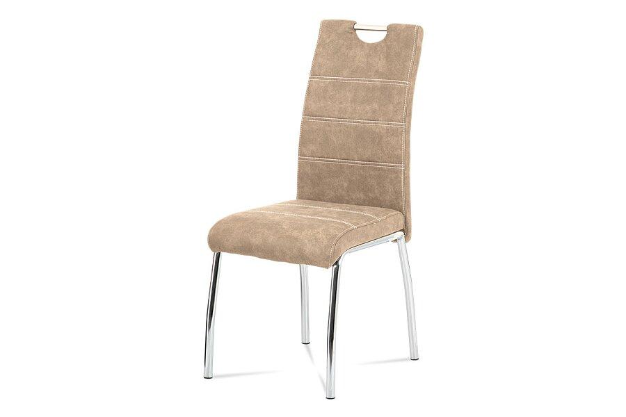 jídelní židle, látka krémová COWBOY / chrom