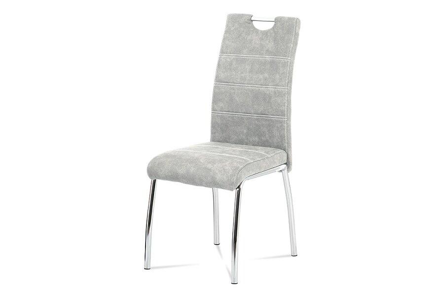 jídelní židle, látka stříbrná COWBOY / chrom