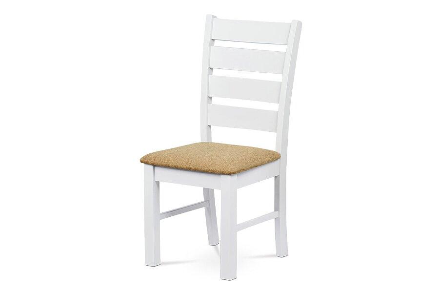 Jídelní židle, masiv kaučukovník, látkový potah v pískové barvě, bílý matný lak