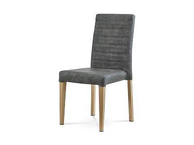Jídelní židle - šedá, dekor dub