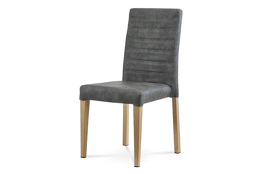 Jídelní židle, šedá látka v dekoru broušené kůže, kovová podnož, 3D dekor divoký dub