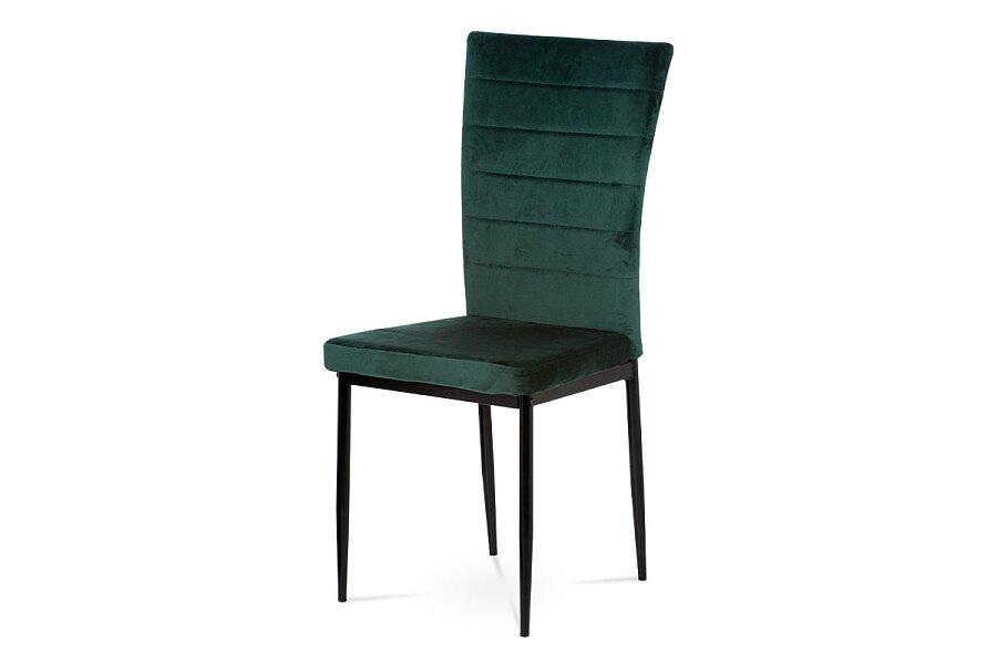 Jídelní židle, zelená látka samet, kov černý mat