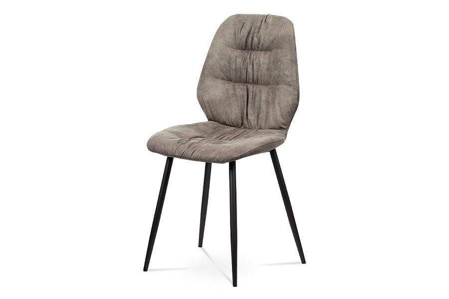 Jídelní židle - hnědá látka v dekoru broušené kůže, kovová podnož,  černý matný lak