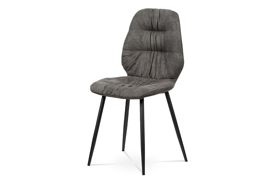 Jídelní židle - šedá látka v dekoru broušené kůže, kovová podnož, černý matný lak
