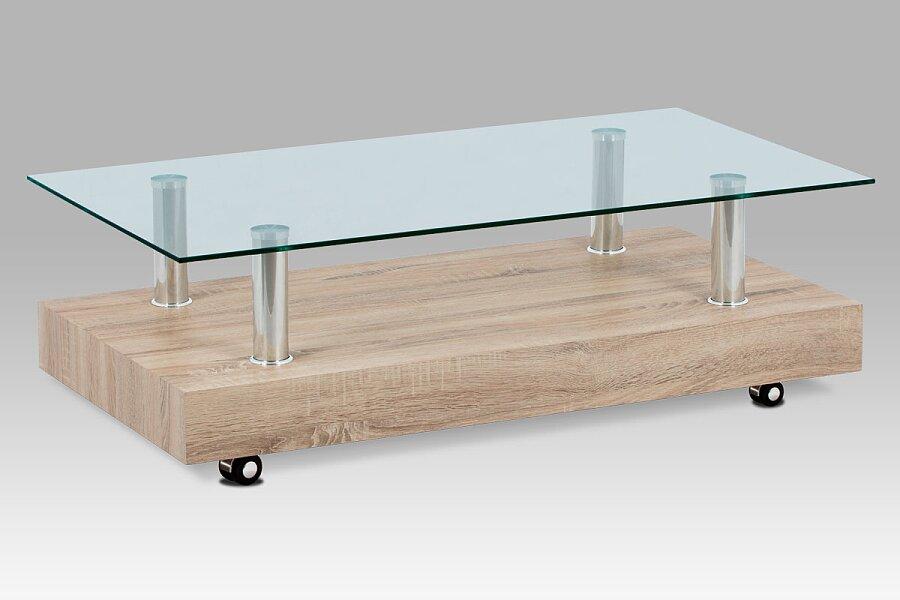 Konferenční stolek 110×60×35, sonoma / sklo čiré
