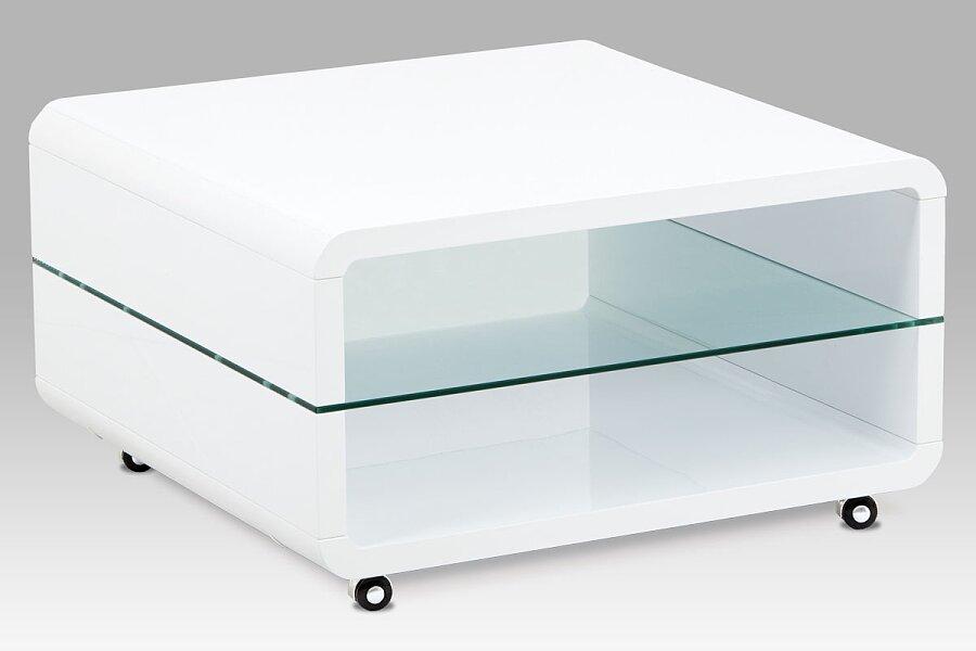 (AHG-615 WT) Konferenční stolek 80x80x45 cm, vysoký lesk bílý / čiré sklo 8 mm