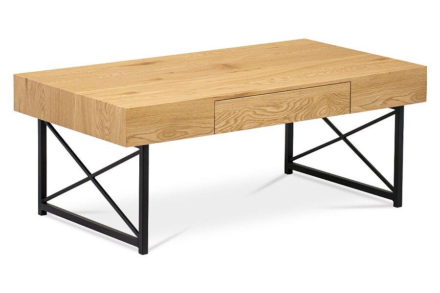 Konferenční stolek 110x60 cm, MDF divoký dub, kov černý mat