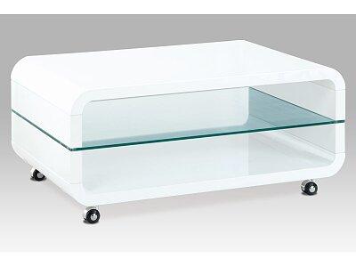 (AHG-011 WT) Konferenční stolek 90x60x40, MDF bílý vysoký lesk, čiré sklo, 4 kolečka