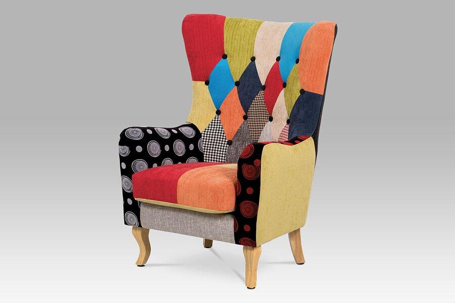 Křeslo, látka patchwork, masiv přírodní kaučukovník