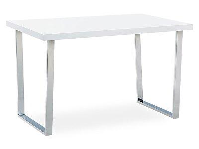 Jídelní stůl 120x75 cm, MDF deska, bílý vysoký lesk, chromovaná podnož