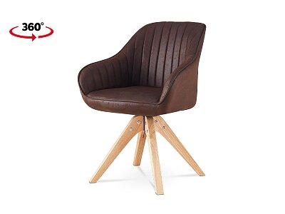 Jídelní židle, hnědá látka v dekoru broušené kůže, nohy masiv kaučukovník