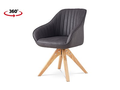 Jídelní židle, šedá látka v dekoru broušené kůže, nohy masiv kaučukovník