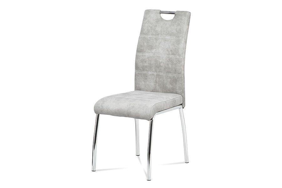 jídelní židle - látka stříbrná COWBOY / chrom
