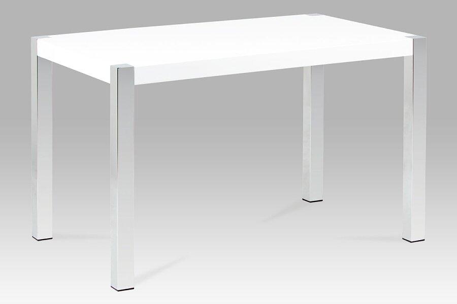 Jídelní stůl 120x75 cm, vysoký lesk bílý / chrom