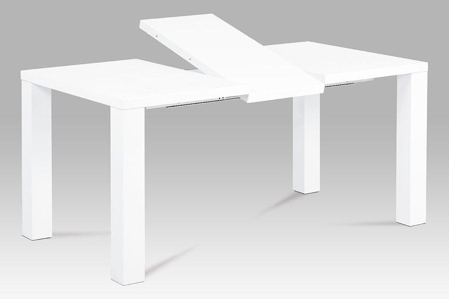Jídelní stůl rozkládací 120+40x90 cm, vysoký lesk bílý