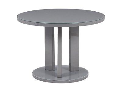 Jídelní stůl pr. 108 cm, sklo šedé + MDF šedá