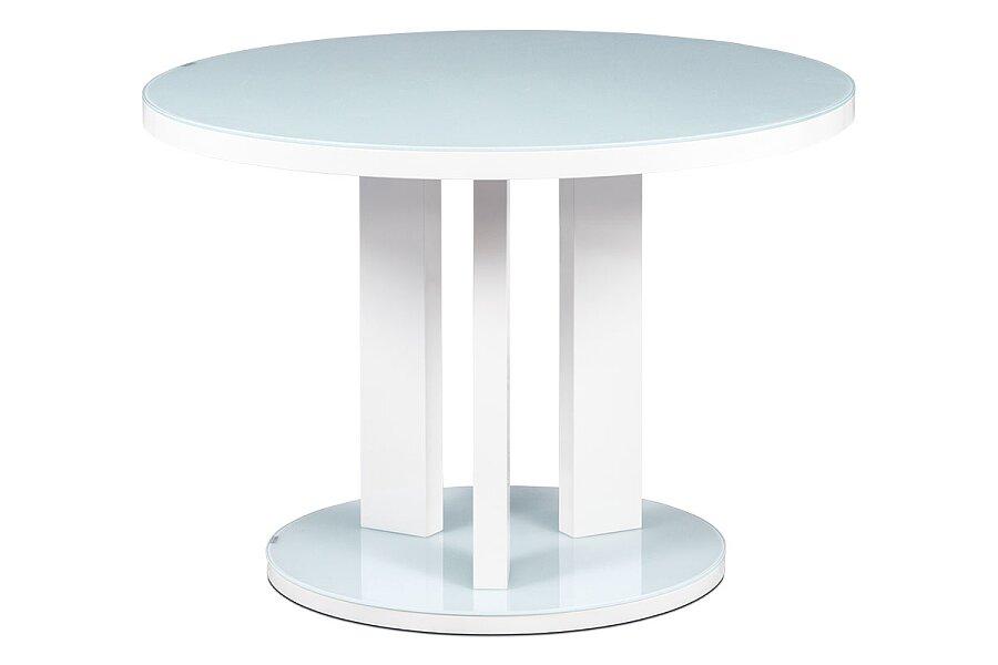 Jídelní stůl pr. 108 cm, sklo bílá + MDF bílá