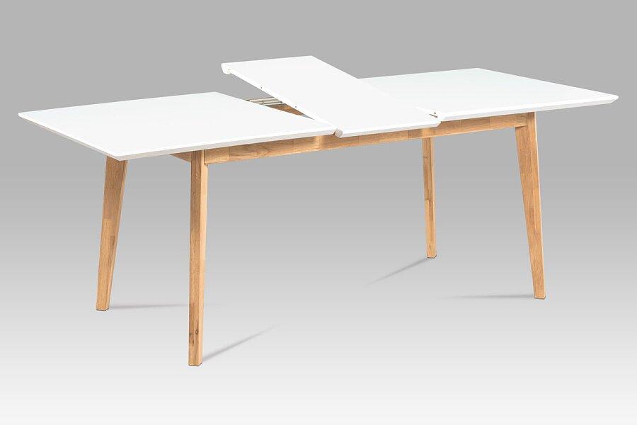 Rozkládací jídelní stůl 160+40x90, bílá MDF mat, masiv dub